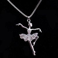 1 stück kreative mode elegante ballett mädchen strass halskette damen schick anhänger clavicle kette schmuck geschenk halsketten