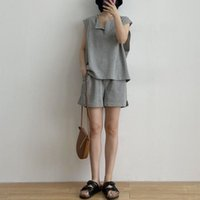 Gym Clothing Waffle Casual Sleeveless T-shirt Suit Girl Summer Cotton Vest Loose Wide-leg Sports Shorts Yoga Fitness Two-piece