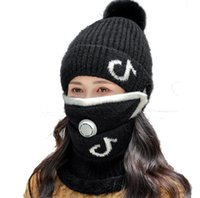 Party Favor Winter Warm 3 piece winter headwear Plush cuff beanies hat POM wool knit cuffed skull caps +mouth cover + scarf slouchy full head cover ski outdoor