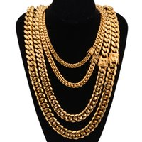 Miami Cuban Link Chains Stainless Steel Mens 14K Gold Chains High Polished Punk Curb Necklaces 8mm 10mm 12mm 14mm 16mm