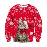 축제 크리스마스 스웨터 남성 여성 3D 고양이 개 후드 재미있는 인쇄 메리 크리스마스 스웨터 파티 풀 오버 탑스
