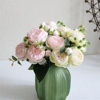 5 cabezas de seda artificial rosa flor racimo plantas ramo falso hogar decoración de boda jardín floral oficina dormitorio fiesta 610 S2