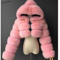 Высокое качество пушистые обрезанные из искусственных меховых пальто и куртки женские пушистые верхние пальто с капюшоном зимний меховой куртки Manteau Femme T200905