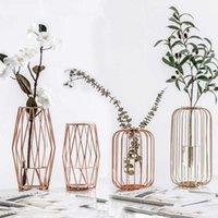 Северный фонарь в форме железа искусство стеклянные золотые настольные настольные вазы цветочный горшок домой свадебное украшение