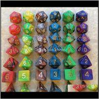 Жарец Двухцветный Polyheedral Dice набор DND RPG игры 1 шт. D4681220 2 шт. D10 090090 Высокое качество 7pcsset D14 EKTUR 3JOTK