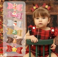 Crianças lantejoulas festa de natal festa de pele de cabelo meninas santa claus rena neve homem bow cabelo clipe kids judio jorgueiro bowknot barrettes acessórios q2465