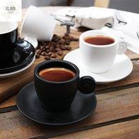 Tazze petty 90ml concise nero bianco opaco opaco leggero amaro tazza da caffè set con vassoio espresso cappuccino taza cafe latte tazza tazza vita
