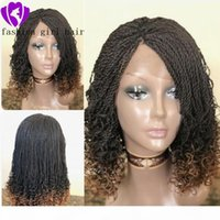 Fashion 180density short Box Braids Curly wig Synthetic lace front wig Ombre Braiding Hair short twist lace wig for Women
