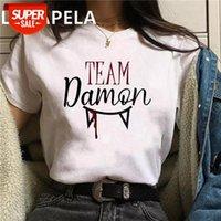 T-shirt O Vampire Diaries Harajuku Kpop Casual Manga Curta T Shirt Mulheres Moda Ullzang Damon Tshirt 90s Coreano Tops Festa Feminina # PG2M