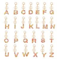 Moda Yaratıcılık Mektubu Anahtarlık Trendy Meyve Renkli 26 İngilizce Mektubu İlk Reçine Çanta Kadınlar Için Anahtarlık Aksesuarları