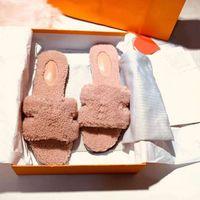 2021 zapatos top de lana Desininer Invierno Deslizadores de peluche interior HOTEL INTERIOR HOTEL CALIENTE Sandalias de piel para mujeres Diapositivas Calidad con caja Tamaño 41
