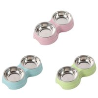Selling Pets Bowl Multipurpose Household Wheat Straw Double For Cats Dogs Puppy Feeders Blue Green Pink Dog Bowls