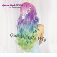 Synthetic Peruca Long Wavy Purple Pink Pestal Mint Green Transparent Yellow Colorful Candy Ombre Rainbow Hair Capless Wig Lace Front Wig