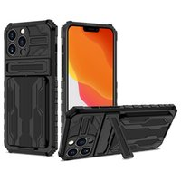 Kickstand Phone Cases For Iphone 13 Pro Max 12 11 XSMAX XR 8 7 Plus Compatible Samsung S21 Ultra Note 20 Fashion Card Pocket Design Cellphone Case Back Cover