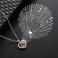 100 Sprachen Ich liebe dich Halskette Frauen Kupfer Herz Anhänger Halsketten Gedächtnisprojektion Halsketten Modeschmuck 829 q2