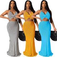 Women striped print dresses plus size sleeveless skirts casual skinny dress fashion summer clothing sexy spaghetti strap dress free 2812