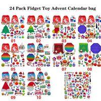 24 Paket Noel Fidget Oyuncak Advent Takvim Çantası Aralık Aralık 24 adet / takım itme Kabarcık Silikon Stres Rahatlatıcı Duyusal Oyuncaklar