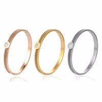 Women Crystal Stainless Steel Rose Gold Love Roman letter Gift Titanium Bracelet Bangle Wedding Charming Jewelry