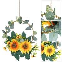 Dekoratif Çiçekler Çelenkler 1 ADET Metal Yüzük Ayçiçeği Hoop Çelenk Çiçek Çiftlik Evi Wending Parti Altın Duvar Festivali Dekor Vintage Okaliptüs
