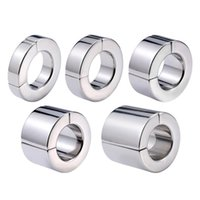 Male Stainless Steel Magnetic Cockring Penis Pendant Scrotum Bondage Ball Oschea Stretcher Squeeze Testicles Device Adult Bdsm Sex Toy 5 Size 019