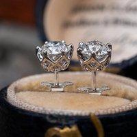 Ovas Real 0.5-1 Carat D Color Moissanite Brincos Para As Mulheres Top Quality 100% 925 Sterling Prata Sparkling Wedding Jóias 414 B3
