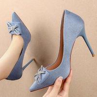 드레스 신발 2021 크기 34-39 여성 10cm 극단적 인 하이힐 뾰족한 발가락 에덴 파란색 무리 찬성 나비 매듭 펌프 파티 결혼식