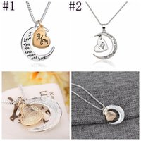New Heart Jewelry I Love You To The Moon And Back Mom Pendant Necklace Mother Day Gift Fashion Jewelry JJA56