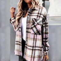 Women's Wool & Blends 2021 Fashion Women Long Sleeve Plaid Shirt Coats Top Spring Autumn Casual Lapel Cardigan Jackets Outerwear Streetwear