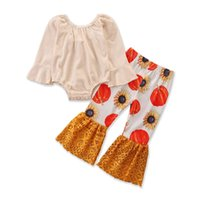 子供服セット女の子ハロウィーン服乳児幼児ロンパートップス+カボチャヒマワリレースフレアパンツ2個/セット春秋1792 B3