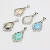 Charms Natural Shell Pendant Alloy Water Drop Shaped Exquisite For Jewelry Making DIY Necklace Bracelet Earrings Accessories