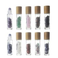 10ml 유리 에센셜 오일 병 석유 병에 맑은 앰버 롤 대나무 뚜껑 스테인레스 스틸 롤러 공 에센셜 오일 샘플 vials GGA4739