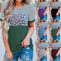 Jessie Li Explosions Women's Round Neck Stripe Leopard Contrast Short-sleeved T-shirt Women Shirts For Graphic Tee