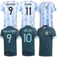 Argentina Soccer Jersey 20 21 Copa Home Away Camisa de Futebol 2021 Messi Dybala Aguero Lo Celso Martinez TagliaFico Homens + Kids Kit Uniformes