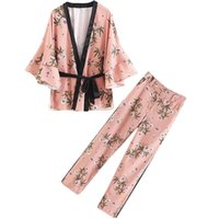 Women's Suit Tops Blusa Feminina Women Kimono Blouses Loose Casual Blusas 2021 Print Floral Side Striped Pants Shirt Set Two Piece