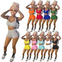 Estate Donne TrackSuits Sexy Breve Yoga Abiti da yoga Two Pieces Jogger Suits Brependers Vest Pantaloncini Casual Solid Color Sweatsuit Plus Taglie S-XXL