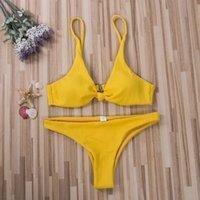 قطعة واحدة الدعاوى النساء بيكيني مجموعات القوس عقدة مبطن briatops قيعان ثونغ ملابس السباحة مجموعة بلون