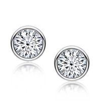 LESF 925 Silver White Yellow Color Stud Earrings Luxury Sona Diamond Design Ear Buckle Earrings Women Jewelry 210609