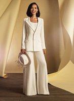 Unique White Women Wedding Suits Gowns Bridal mother of the bride groom Pant Suits with Long Jacket vestidos de fiesta Evening Party Suits