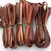 2M Cordon en cuir véritable pour bijoux bricolage Fabrication de bracelet en cuir de vache brun rétro Crétations plats 3/4 / 5/8 / 10mm Fournisseur 1509 V2
