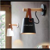 Lampe Deco el Lieferungen Garten Drop Lieferung 2021 LED-Lampen für Wohnzimmer Wandlampen Nordic Hölzerne Gürtel Licht Bett Nacht E27 Lampenschirm H