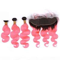 الوردي أومبير العذراء البرازيلي الجسم موجة الشعر حزمة الصفقات 3 قطع مع 13x4 الرباط أمامي إغلاق الجذر الظلام # 1B الوردي أومبير الشعر البشري ينسج