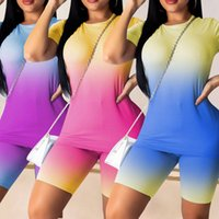 Tracksuits European and American women's sports suit slim fitting Sweatshirt fashion gradient color round neck Sweatshirts short sleeve size casual sportss suits