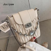 Evening Bags Diamond Chain Tote Bucket Bag 2021 Fashion High Quality PU Leather Women's Designer Handbag Travel Shoulder Messenger