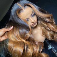 Lace Wigs Sapphire Highlight Colored T Part Human Hair Pre Plucked Front Ombre Remy Body Wave Frontal Wig