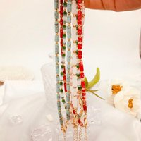 Chokers Autumn 2021 Hand Beaded Bohemian Necklace Natural Stone Gem Clavicle Chain Sweater