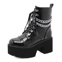 Boots Women High Heel Ankle Shoe On Platform Fashion Chain Patent Leather Female Demonia Punk Style Ladies Winter YMB809