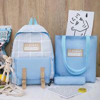 Piece Set Women Travel Backpack School Bags For Teenage Girls Student Plaid Backbags Laptop Bagpack Mochilas Para Mujer