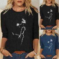 2021 Блузка Женщины Осень Зимние Топы Свободные Кошка Печать Привод Привод Принцип Призывной Длинные Рубашки Tee Рубашка Топ Блуза Blusas Mujer X0521