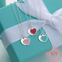 2020! 925 sterling silver double heart necklace ladies classic design green, pink, red high quality gift jewelry H0918