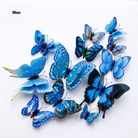 12Pcs Double layer 3D Butterfly Walls Sticker on the wall Home Decor Butterflies for decoration Magnet Fridge stickers